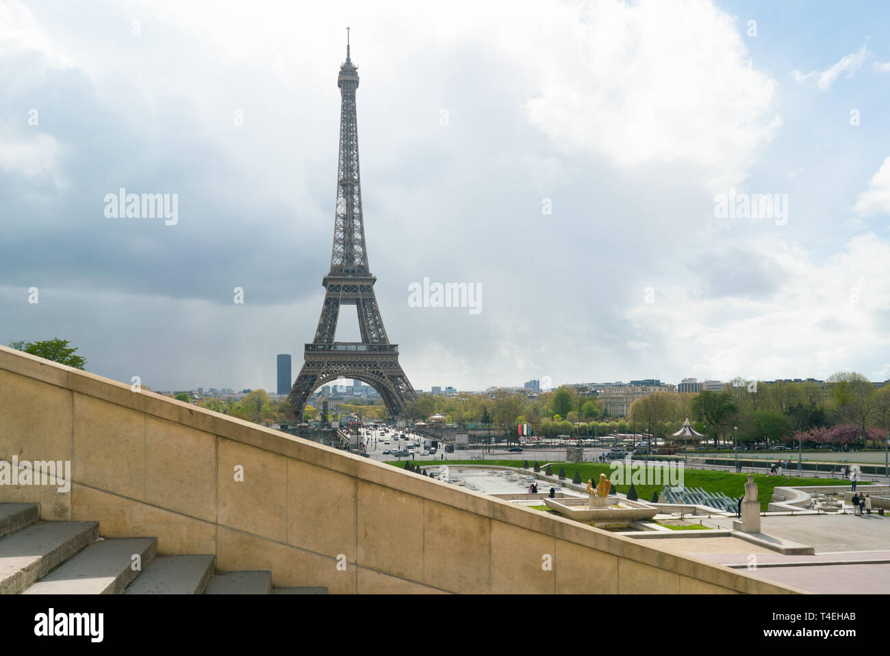 view of Eiffel Tower from Trocadero against a cloudy sky - Stock Image