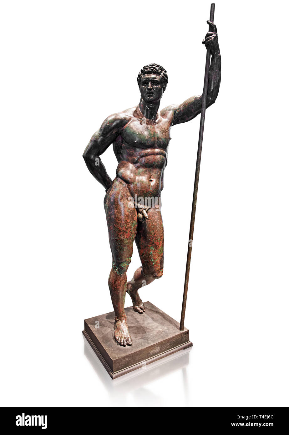 Rare Greek bronze statue known as the Hellenistic Prince, a 2nd cent BC Hellenistic bronze, one of the few in existence.  The figure is leaning with i - Stock Image