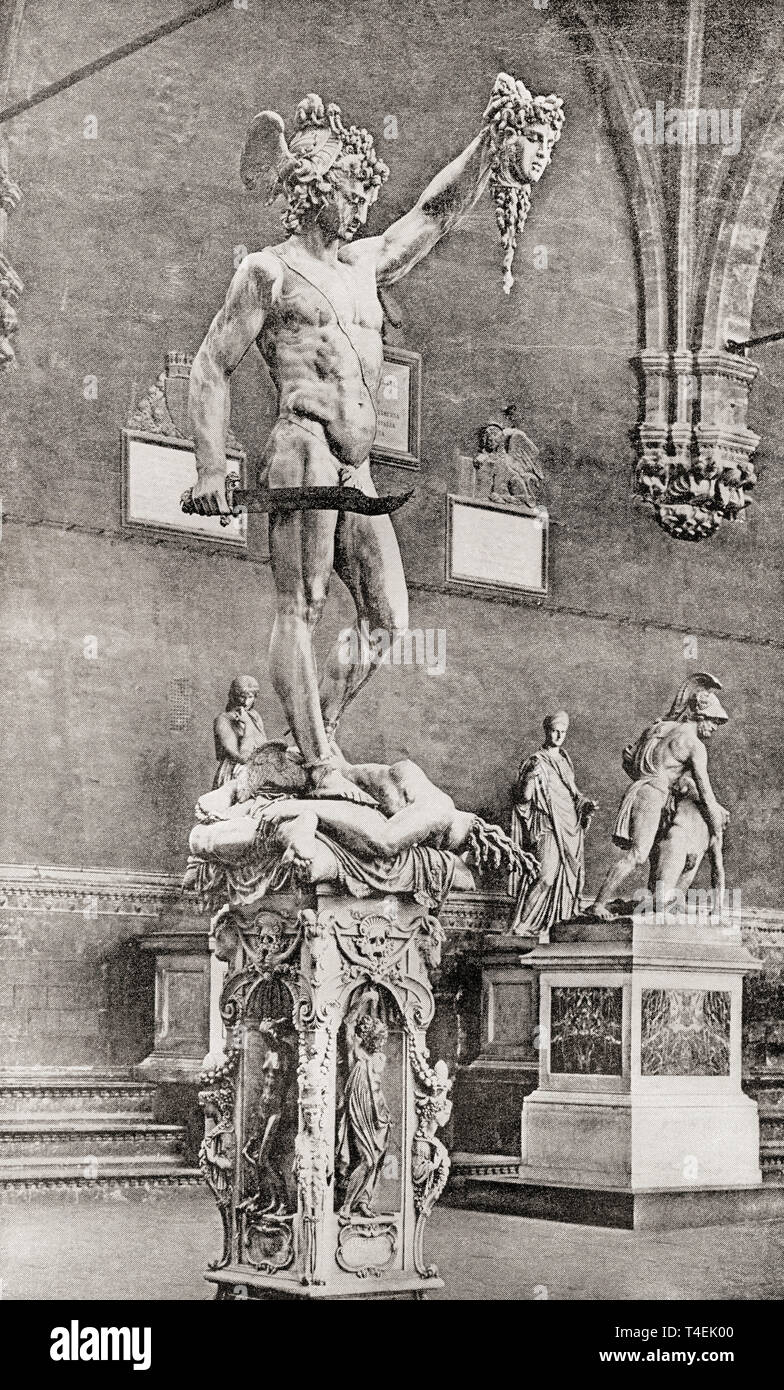 Statue of Perseus with head of Medusa, by Benvenuto Cellini, 1554. According to Greek mythology Perseus beheaded the Gorgon Medusa for Polydectes and saved Andromeda from the sea monster Cetus. From The International Library of Famous Literature, published c. 1900. - Stock Image