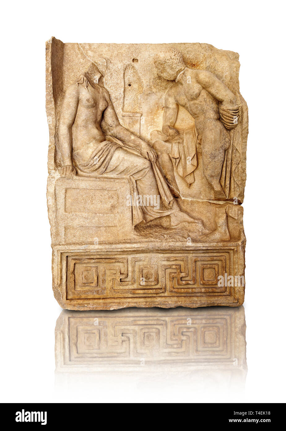 Roman temple freize relief sculptureof an unknown hero holding a sword gazeing at an unknown young heroine. Aphrodisias Museum, Aphrodisias, Turkey. - Stock Image