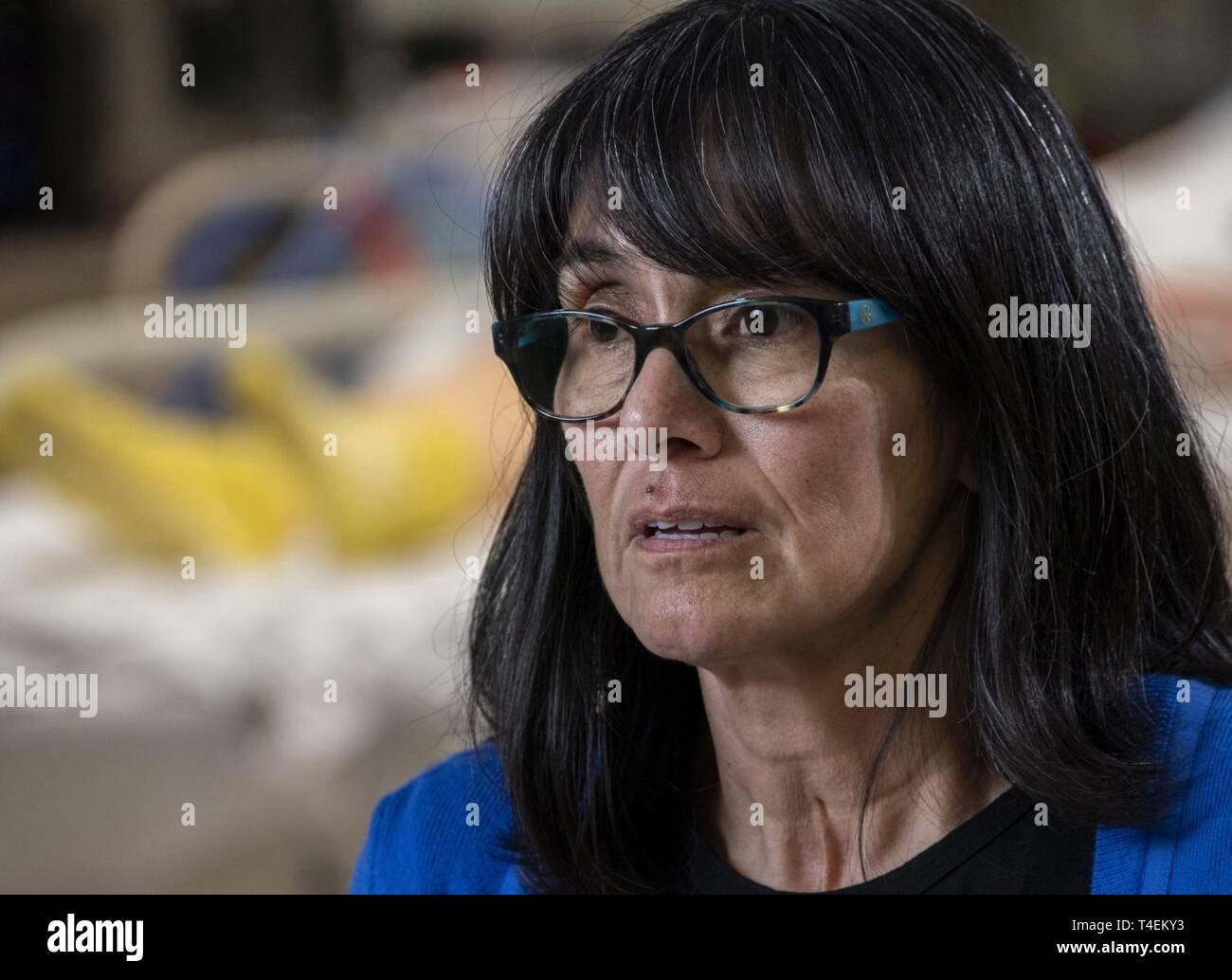Rita Ibanez talks about her 2015 experience as an Extracorporeal Membrane Oxygenation patient at Brooke Army Medical Center, Fort Sam Houston, Texas, March 22, 2019. Ibanez was placed on ECMO for two weeks after a complication during recovery from stomach removal surgery. - Stock Image
