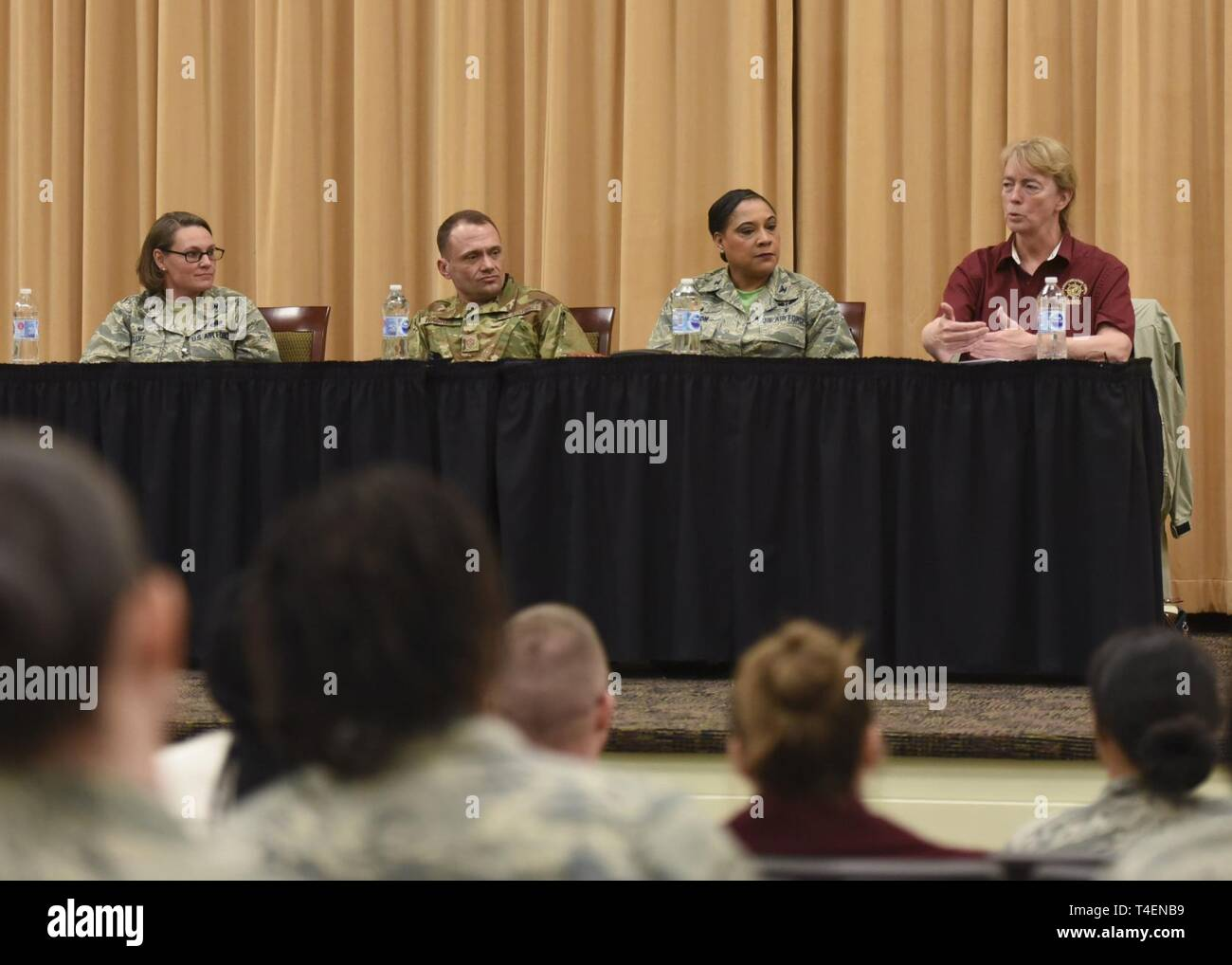 Key leaders discuss diversity and inclusion during a Women's History Month panel at Joint Base Langley-Eustis, Virginia, March 22, 2019. This year's theme, Visionary Women: Champions of Peace and Nonviolence, was celebrated with interactive tours, lectures and this discussion panel. - Stock Image