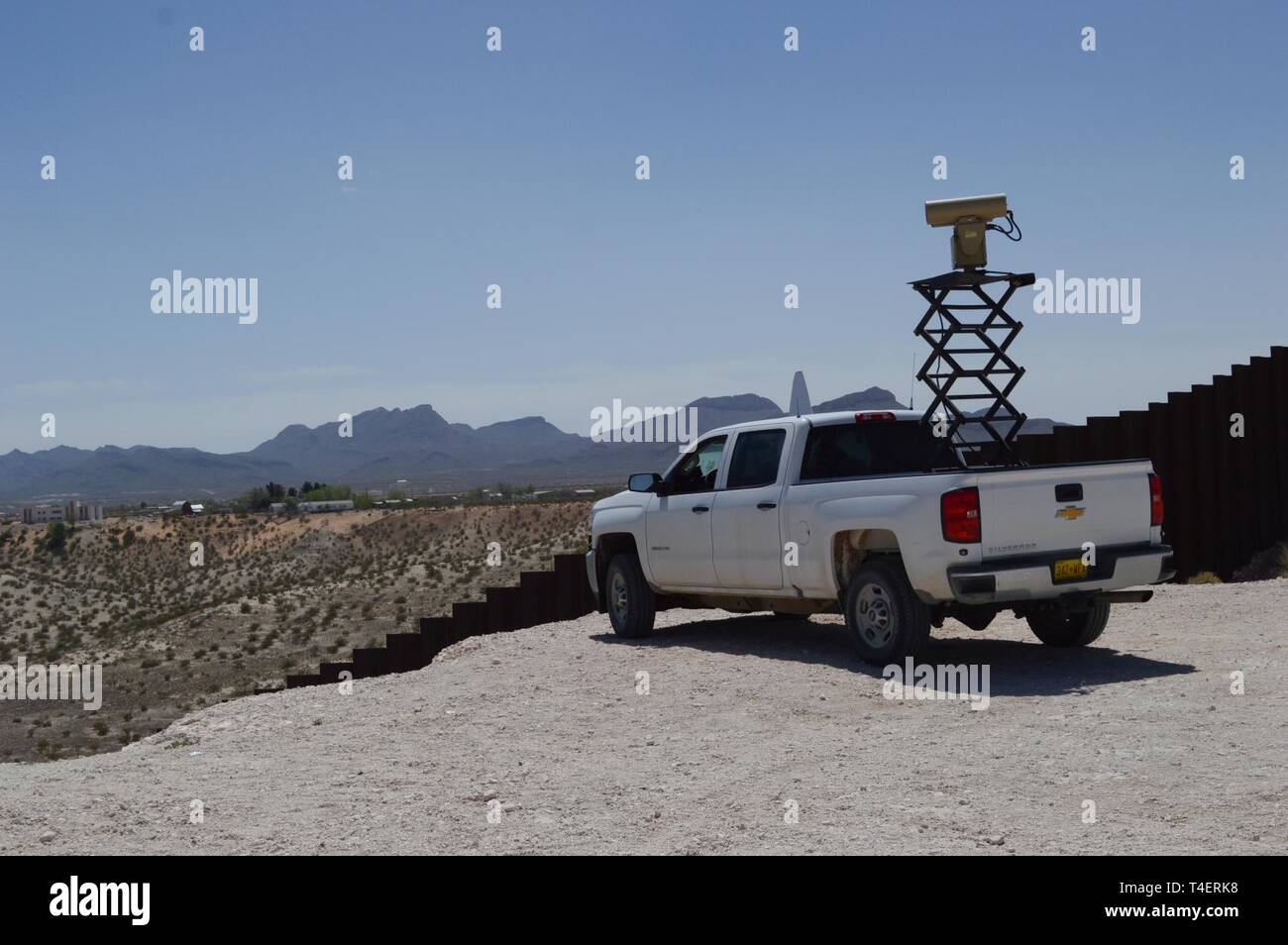 "A Mobile Surveillance Camera parked at ""Monument One"" near the Santa Teresa Port of Entry in Sunland Park, N.M., April 3, 2019. The Monument One MSC is one of 22 along the New Mexico/Mexico border operated by Soldiers assigned to 1-37 Field Artillery Battalion. The Department of Defense has deployed units across the Southwest Border at the request of U.S. Customs and Border Protection and is providing logistical, engineering, and force protection functions. Stock Photo"