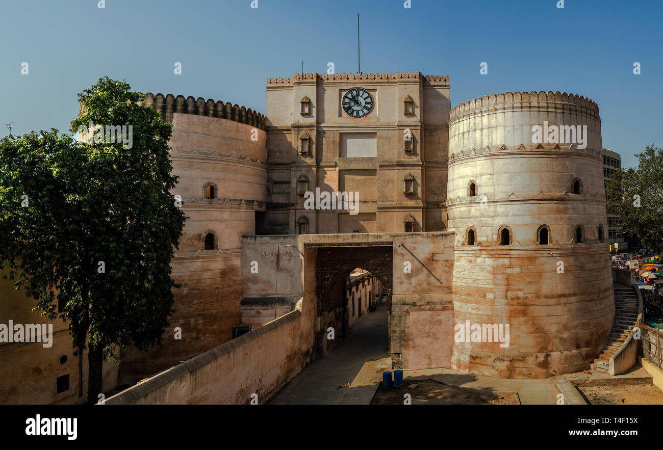 04-nov-2017- Clock Tower on entrance-Bhadra Fort-Part of Old Ahmedabad now UNESCO world Heritage site- AMDAVAD Gujarat INDIA asia - Stock Image