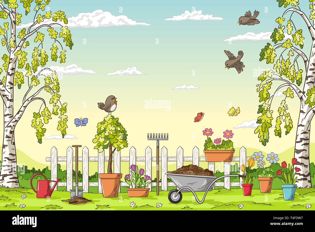 Spring landscape with gardening tolls and birds. Hand draw vector illustration. - Stock Vector