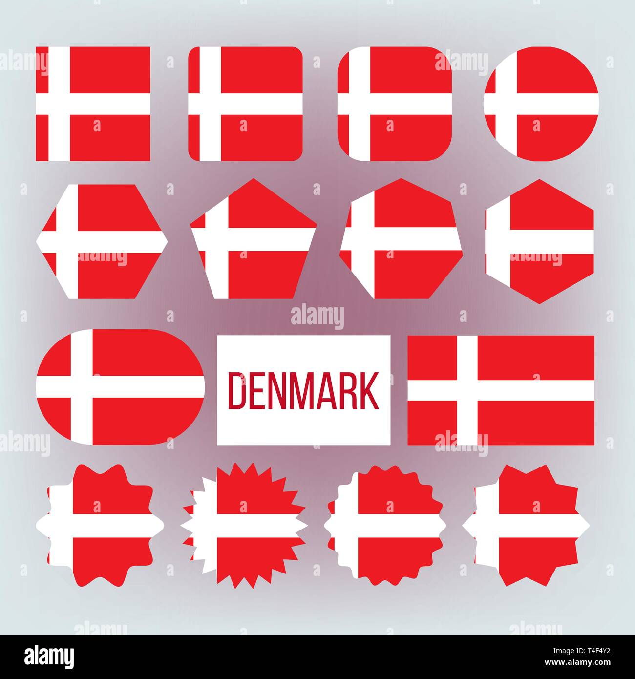 Danish National Colors, Insignia Vector Icons Set - Stock Image