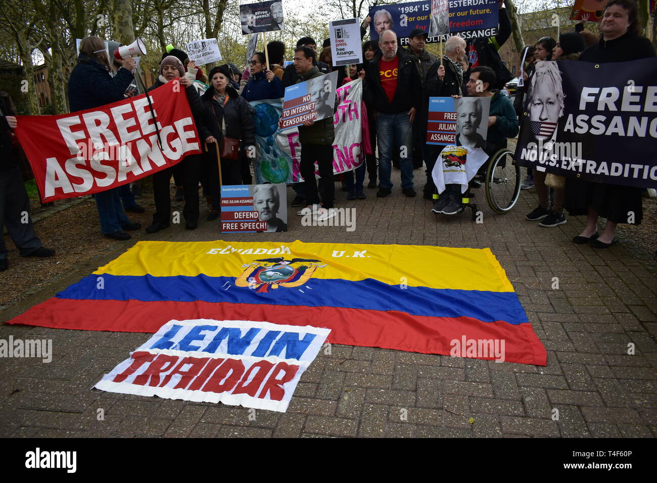 London, UK. April 13 2019. Assange supporters gather at Belmarsh Prison to demonstrate against his arrest and betrayal of asylum with Ecuador. Stock Photo