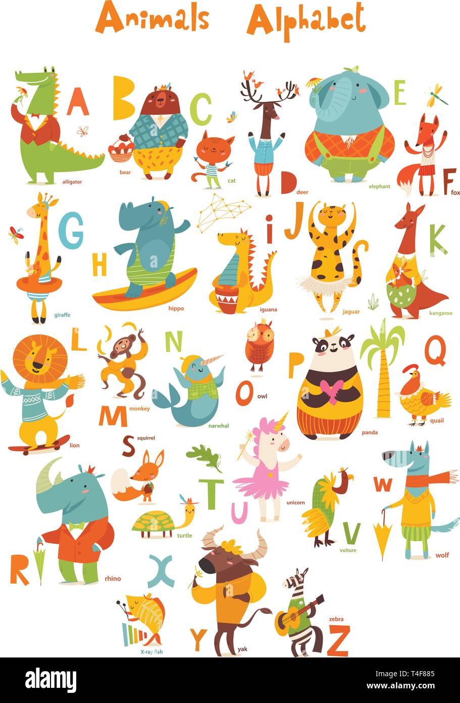 alphabet with animals stock vector.html