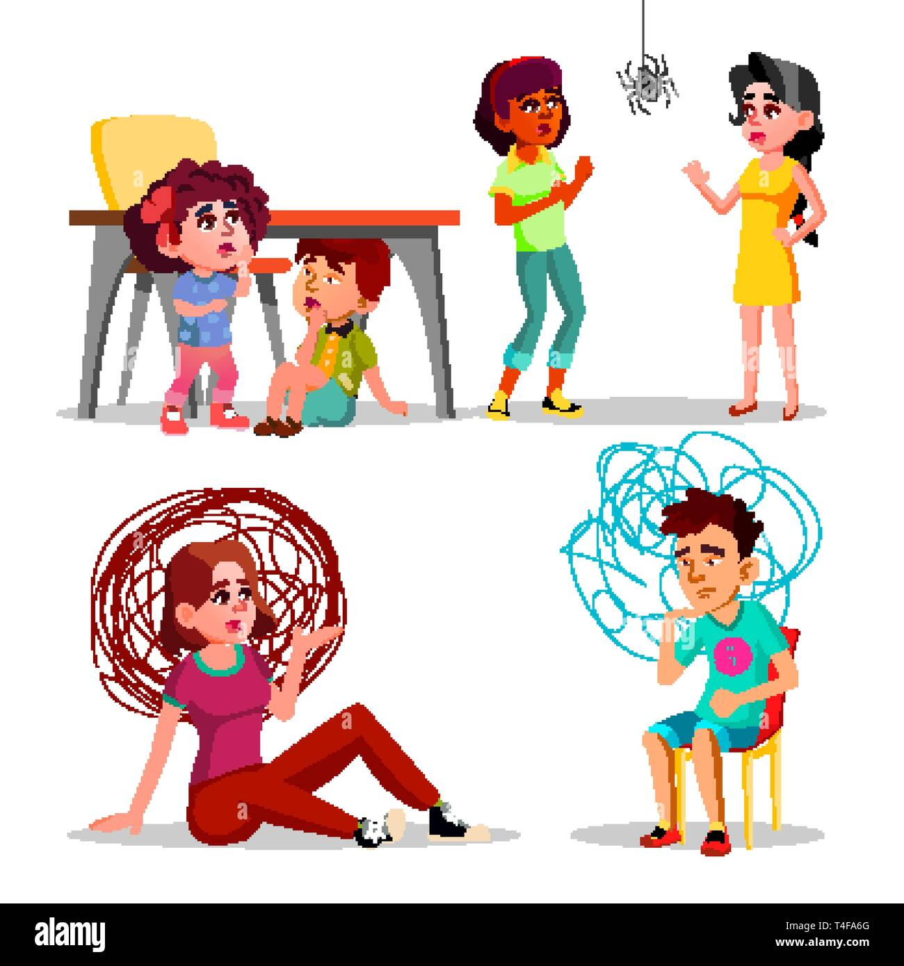 Phobia, Anxiety, Panic Attack, Depression Vector Set - Stock Vector