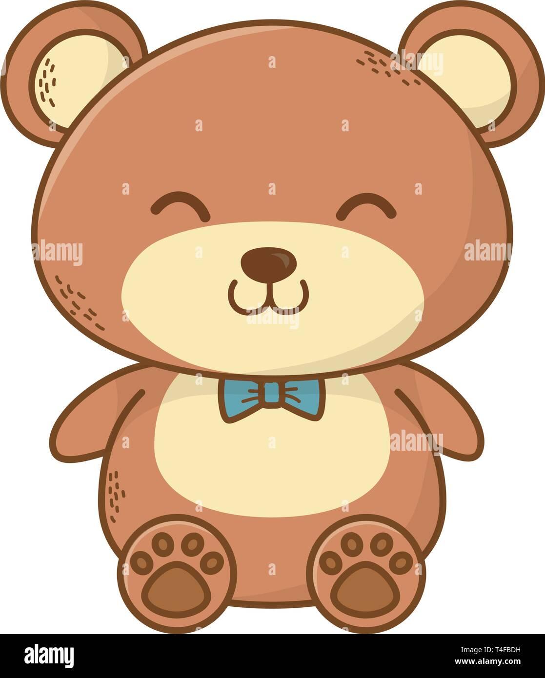 Cute Teddy Bear Cartoon Vector Illustration Graphic Design Stock