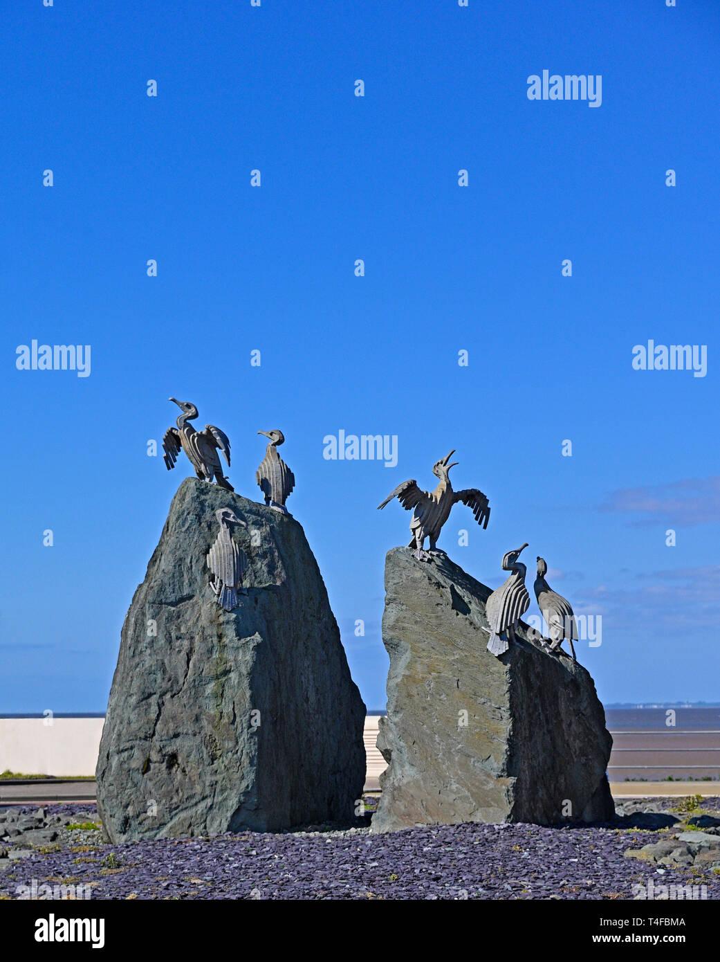 Cormorant bird sculpture. The Tern Project. The Promenade, Morecambe, Lancashire, England, United Kingdom, Europe. - Stock Image