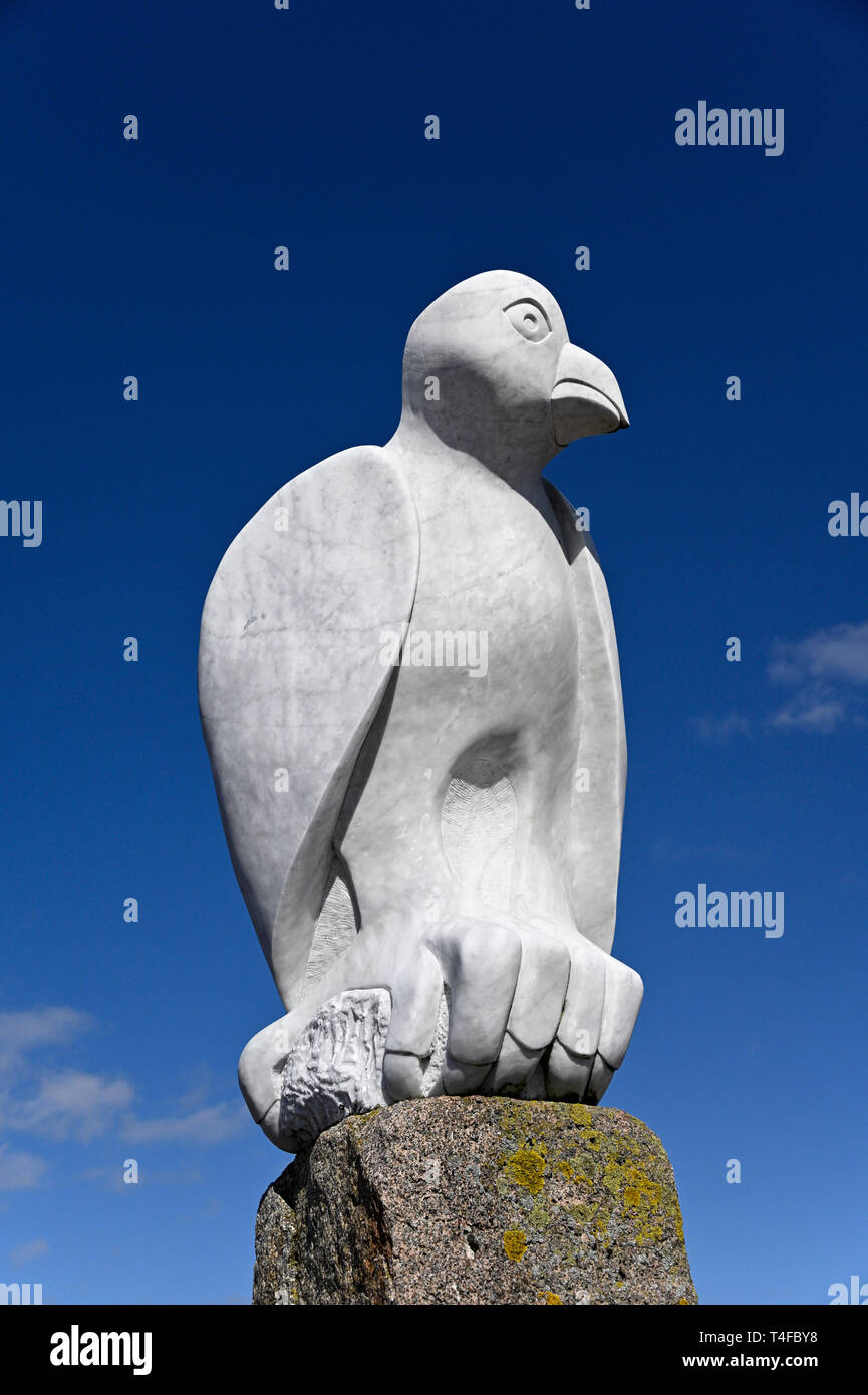 """""""Mythical South American Bird"""".Sculpture, by Gordon Young. The Tern Project. Stone Jetty, Morecambe, Lancashire, England, United Kingdom, Europe. Stock Photo"""