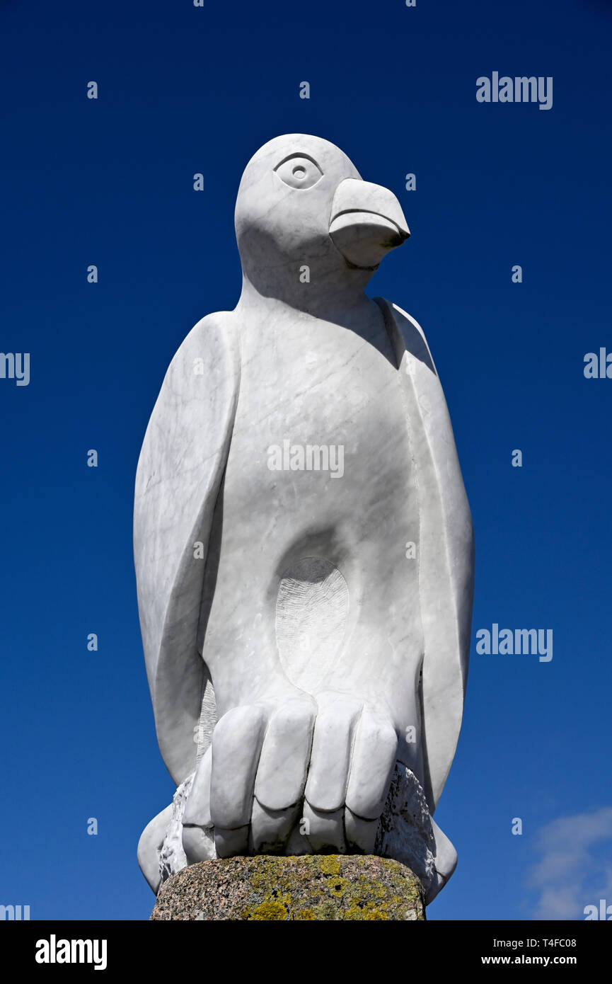 """Mythical South American Bird"".Sculpture, by Gordon Young. The Tern Project. Stone Jetty, Morecambe, Lancashire, England, United Kingdom, Europe. Stock Photo"
