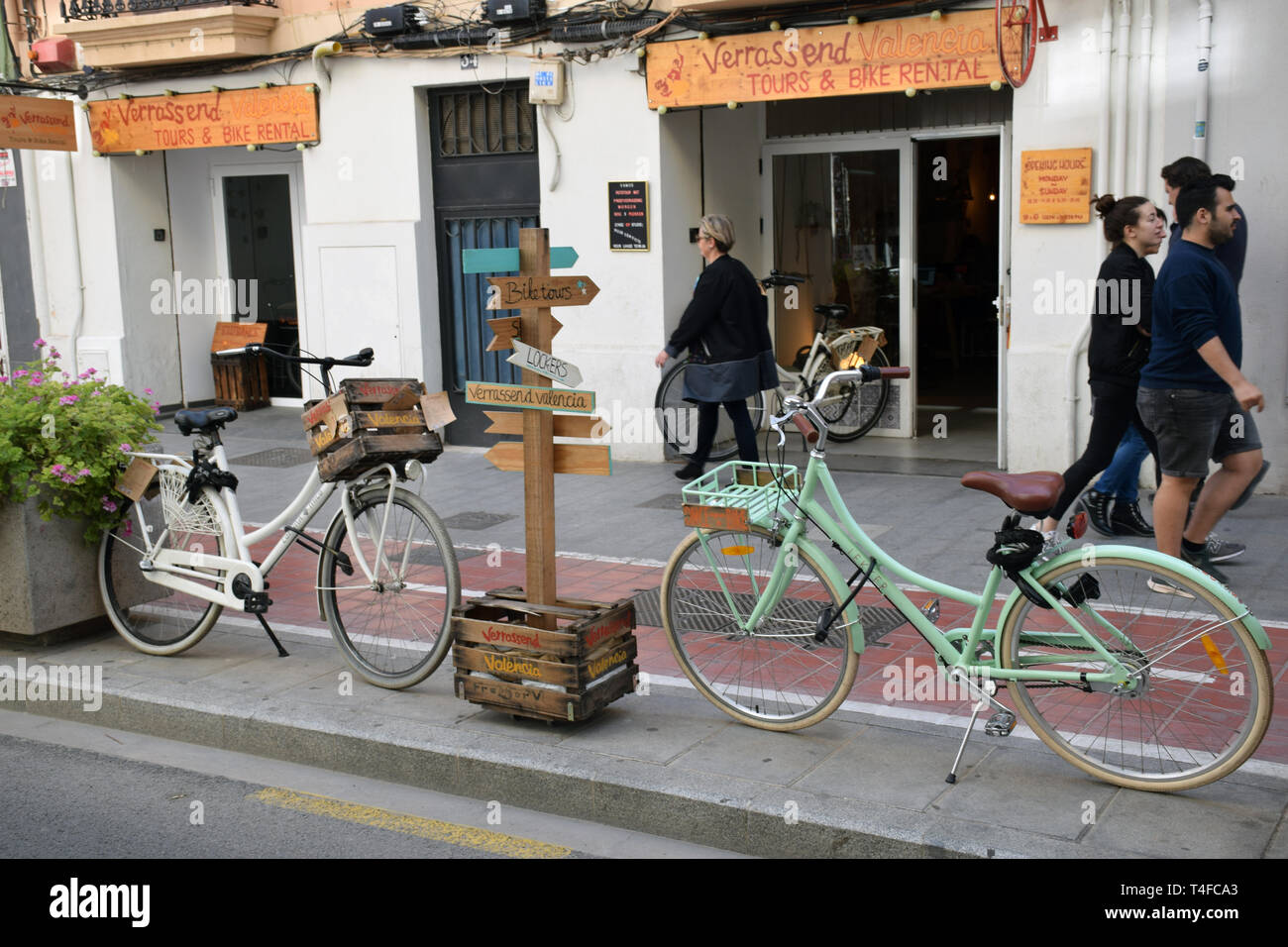 Bike hire shop, Ruzafa, Valencia, Spain 2019 Stock Photo