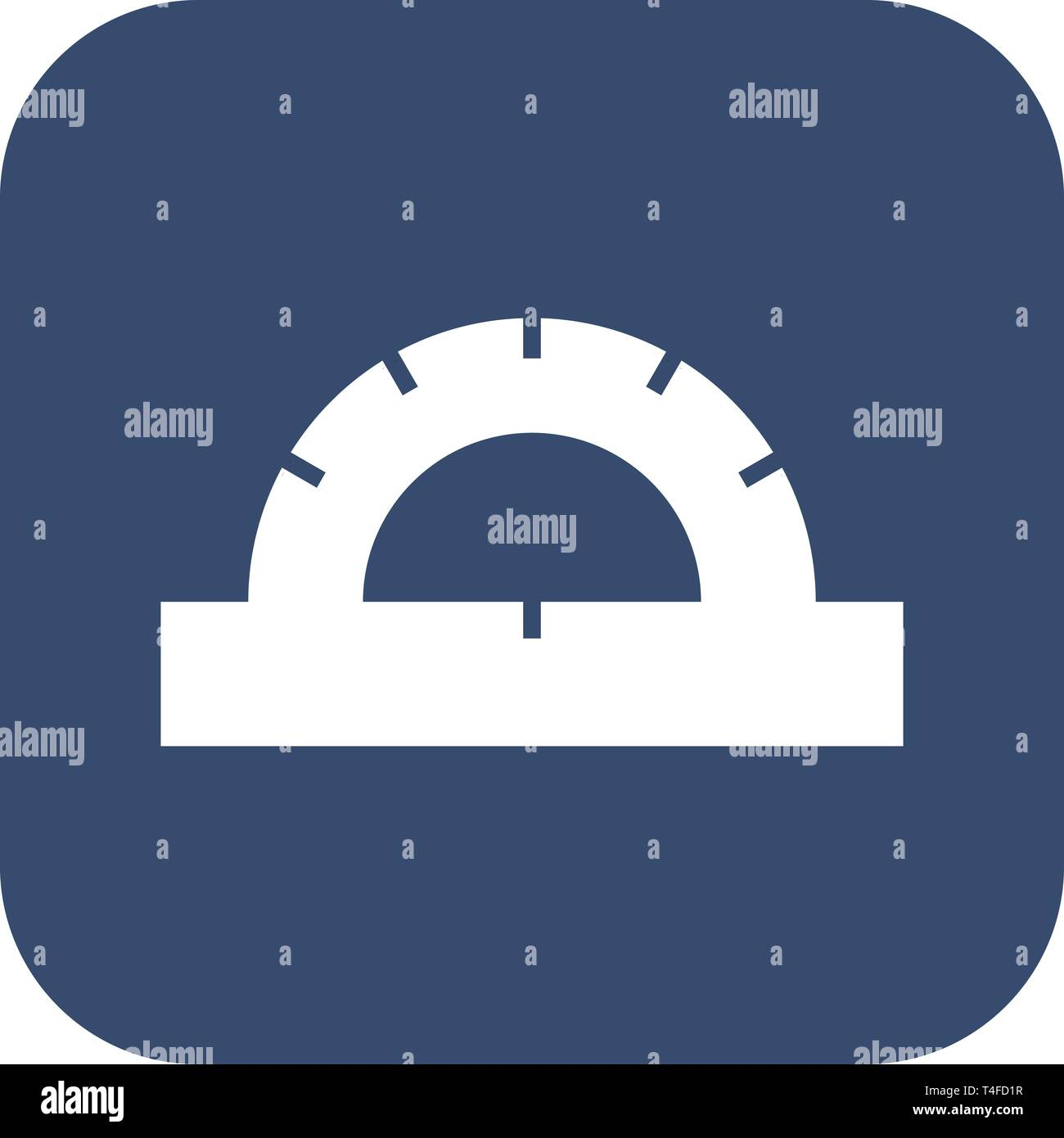 Protractor icon in flat style isolated on dark background. For your design, logo. Stock Vector