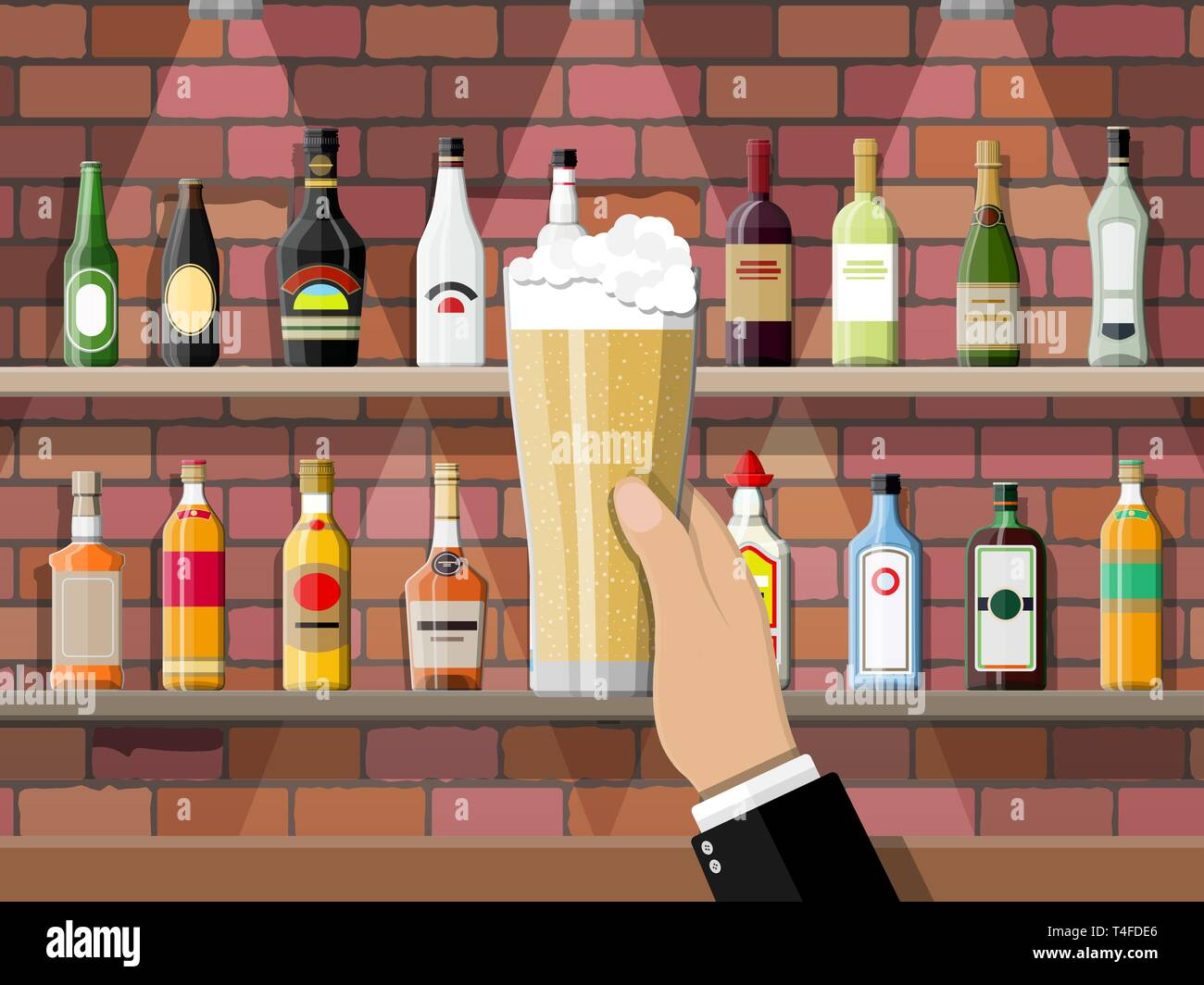 Drinking establishment. Hand with glass of beer. Interior of pub, cafe or bar. Bar counter, shelves with alcohol bottles. Glasses and lamp. Vector ill Stock Vector
