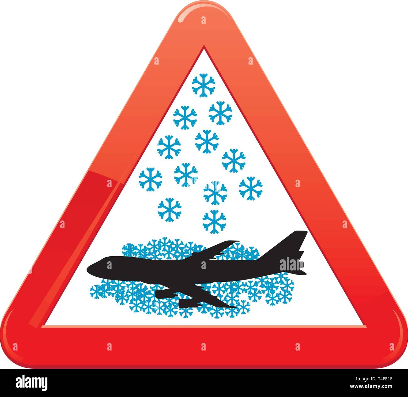 Warning sign about snowfalls, vector illustration - Stock Vector