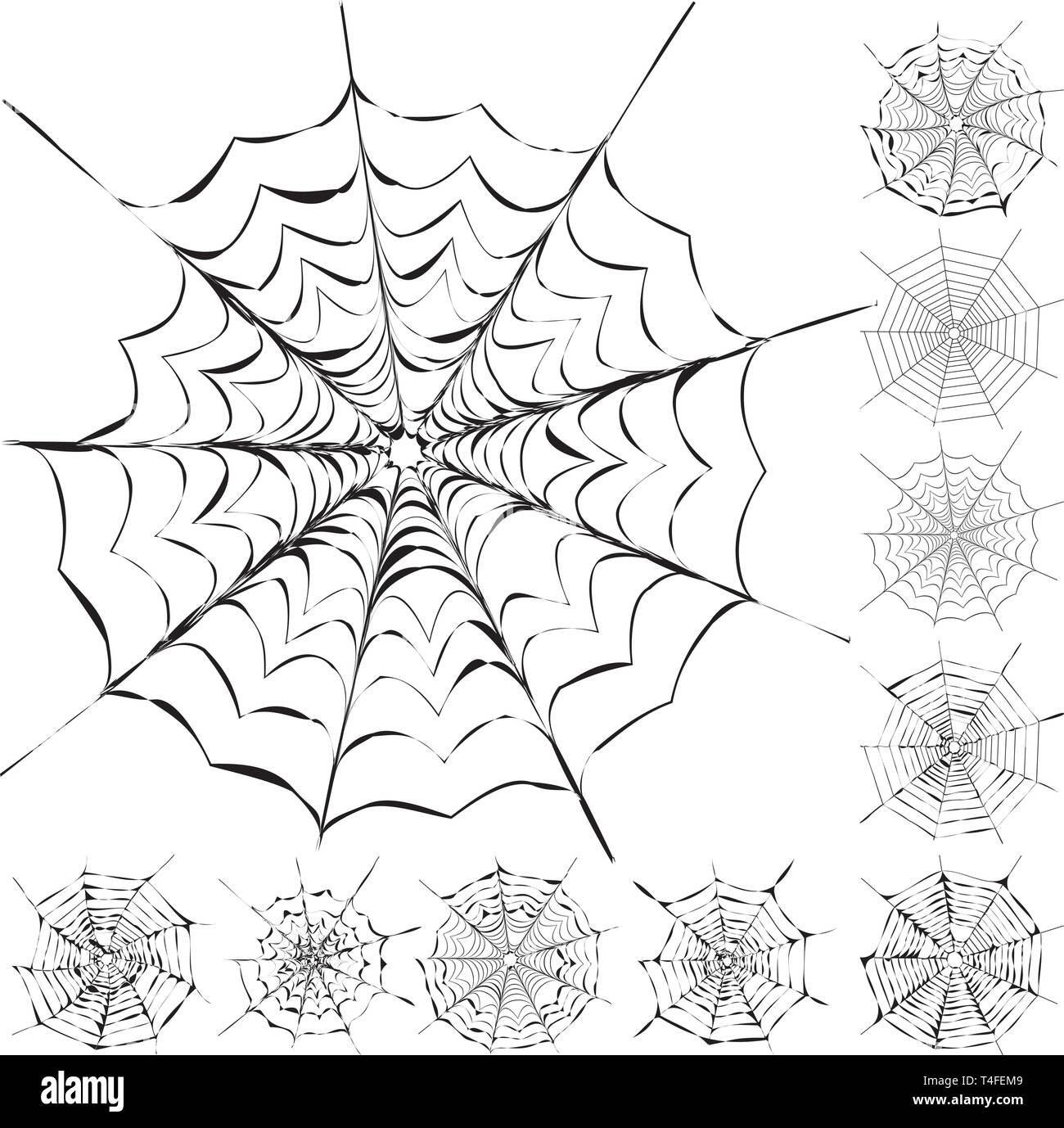 Set of 11 different spiderwebs isolated on white, easy to print, vector illustration - Stock Vector