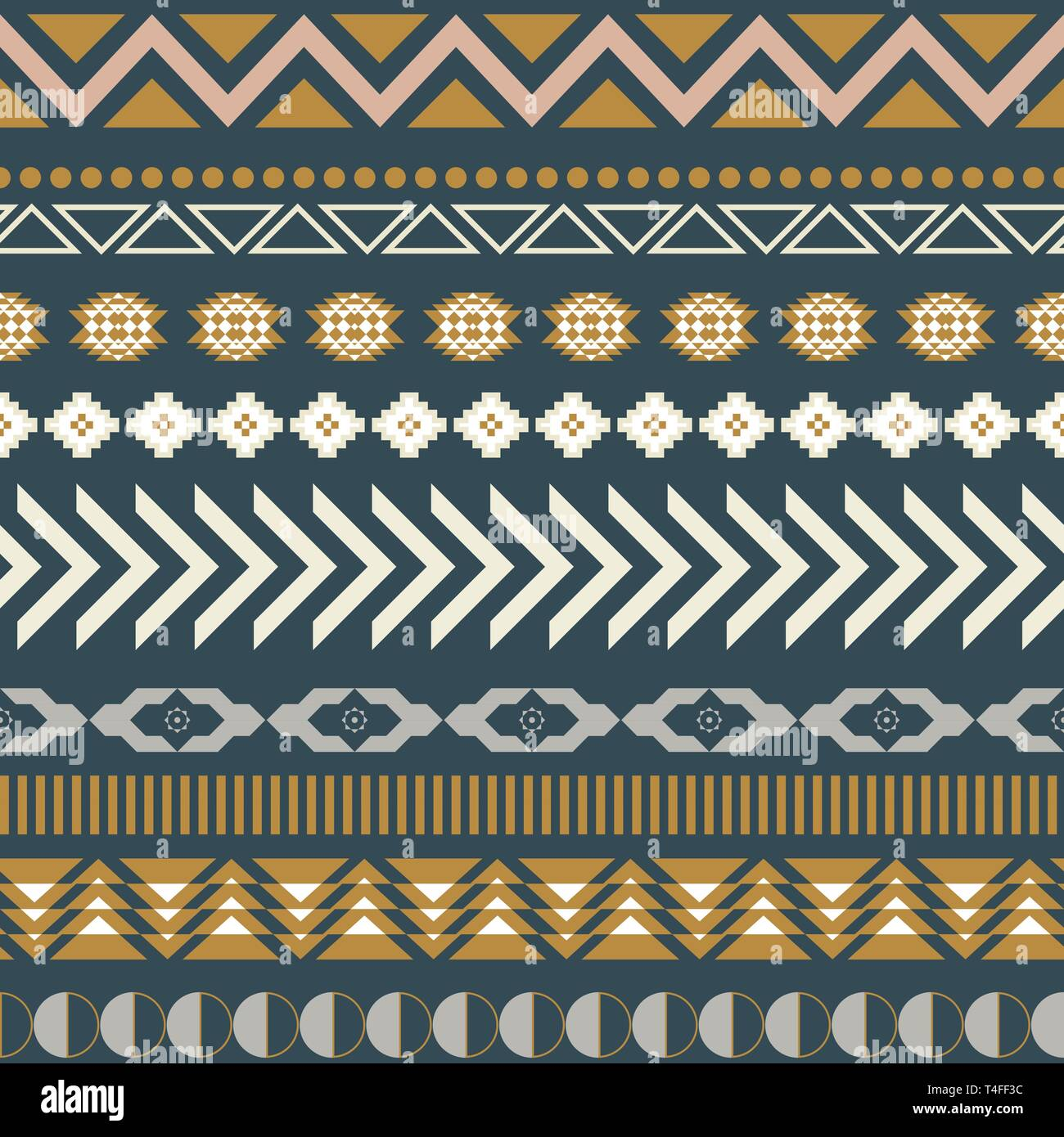 Geometric aztec blue seamless pattern texture. Quiet colors neutral vector ethnic background. - Stock Image