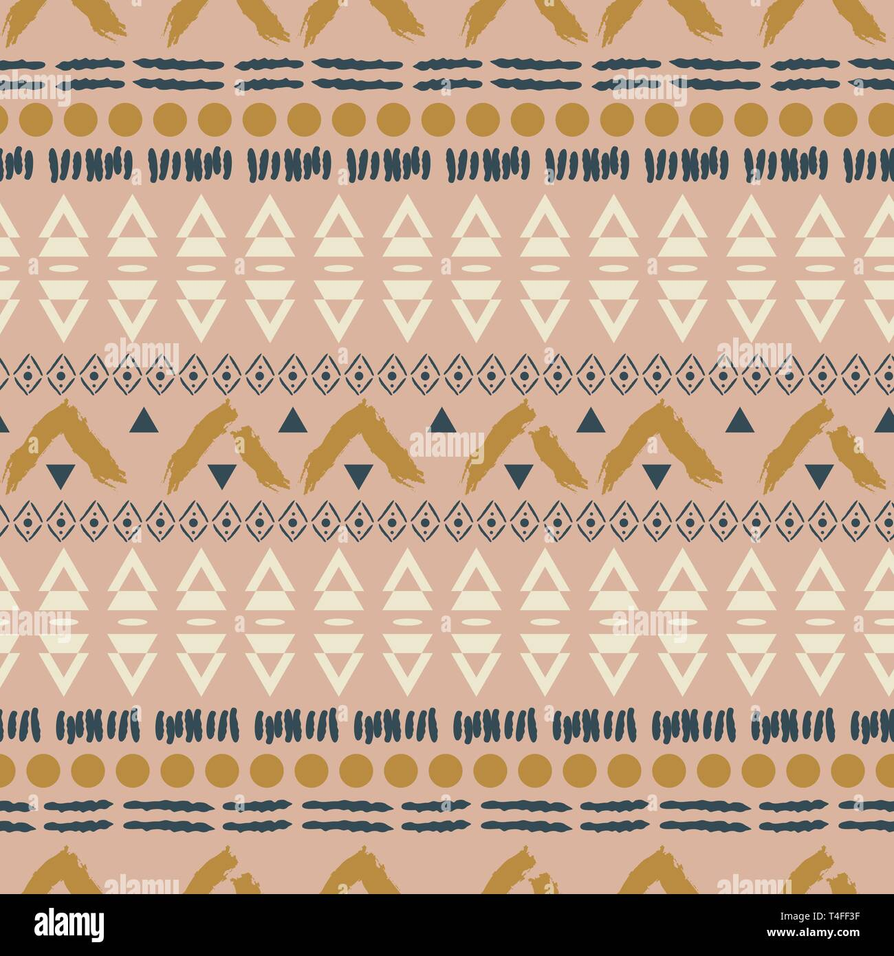 Ethnic boho blush pink geometric seamless pattern texture. Quiet colors neutral vector background. Stock Vector