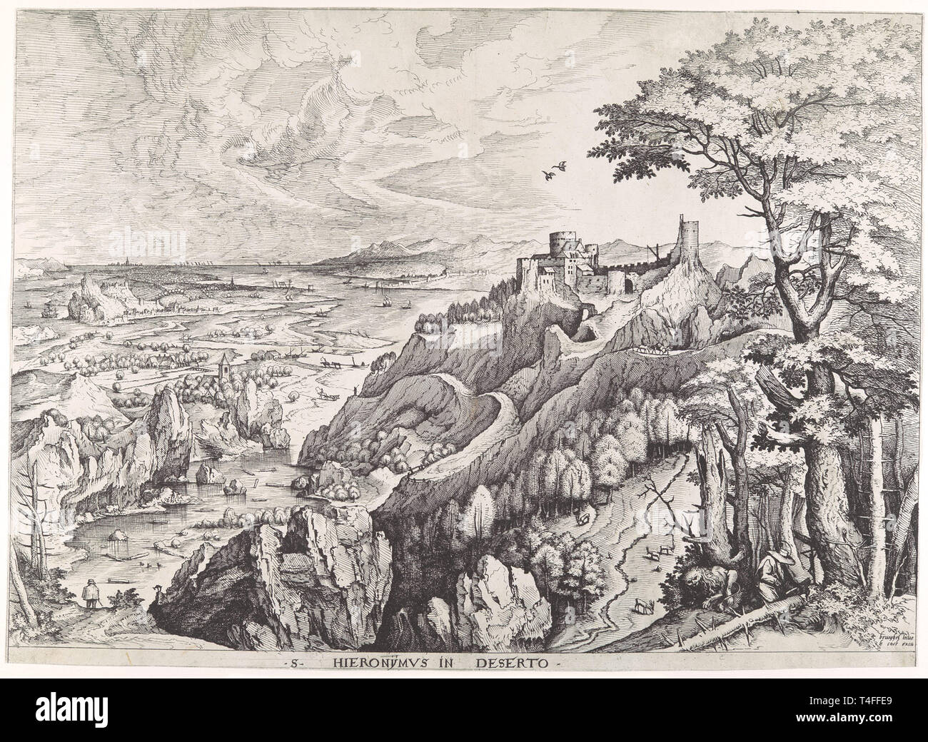 Working Title/Artist: Hieronymus in Deserto (Saint Jerome in the Wilderness) Department: Drawings & Prints Culture/Period/Location:  HB/TOA Date Code:  Working Date: ca. 1555-56 MMA Digital Photo #: DP102213.tif - Stock Image