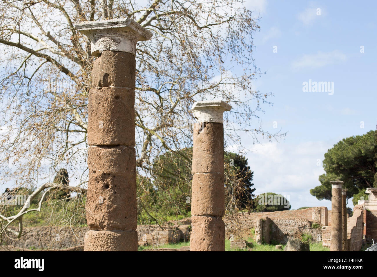 Landscape at archaeological excavations in Ostia Antica : the perspective view of the Roman columns - selected focus on first column - Stock Image