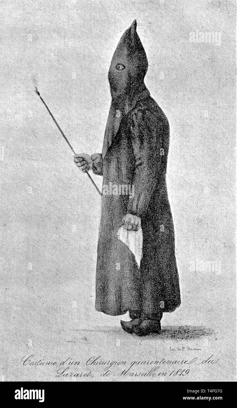 L0025223 Plague doctor Credit: Wellcome Library, London. Wellcome Images images@wellcome.ac.uk http://wellcomeimages.org Plague doctors costume 'Costume d'un chirurgien quarantenaire du Lazaret de Marseille, en 1819.' Aesculape Published: 1932  Copyrighted work available under Creative Commons Attribution only licence CC BY 4.0 http://creativecommons.org/licenses/by/4.0/ - Stock Image