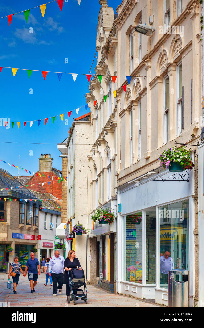 11 June n2018: St Austell, Cornwall, UK - People shopping in Fore Street. - Stock Image