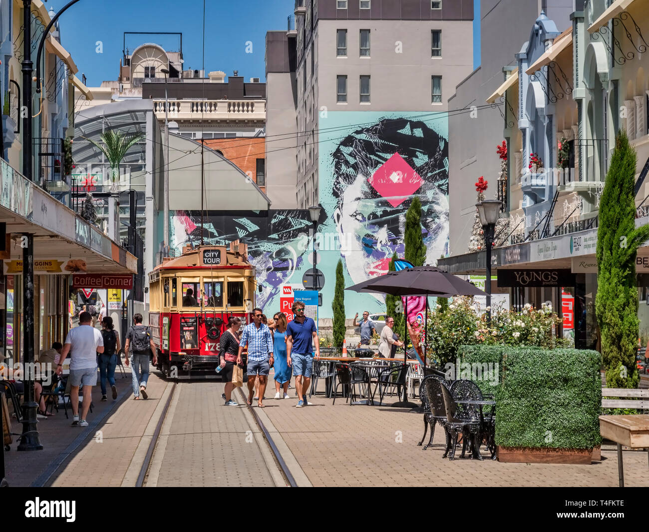 3 January 2019: Christchurch, New Zealand - New Regent Street in the centre of Christchurch, with outdoor cafes and speciality shops, and the tram rou Stock Photo