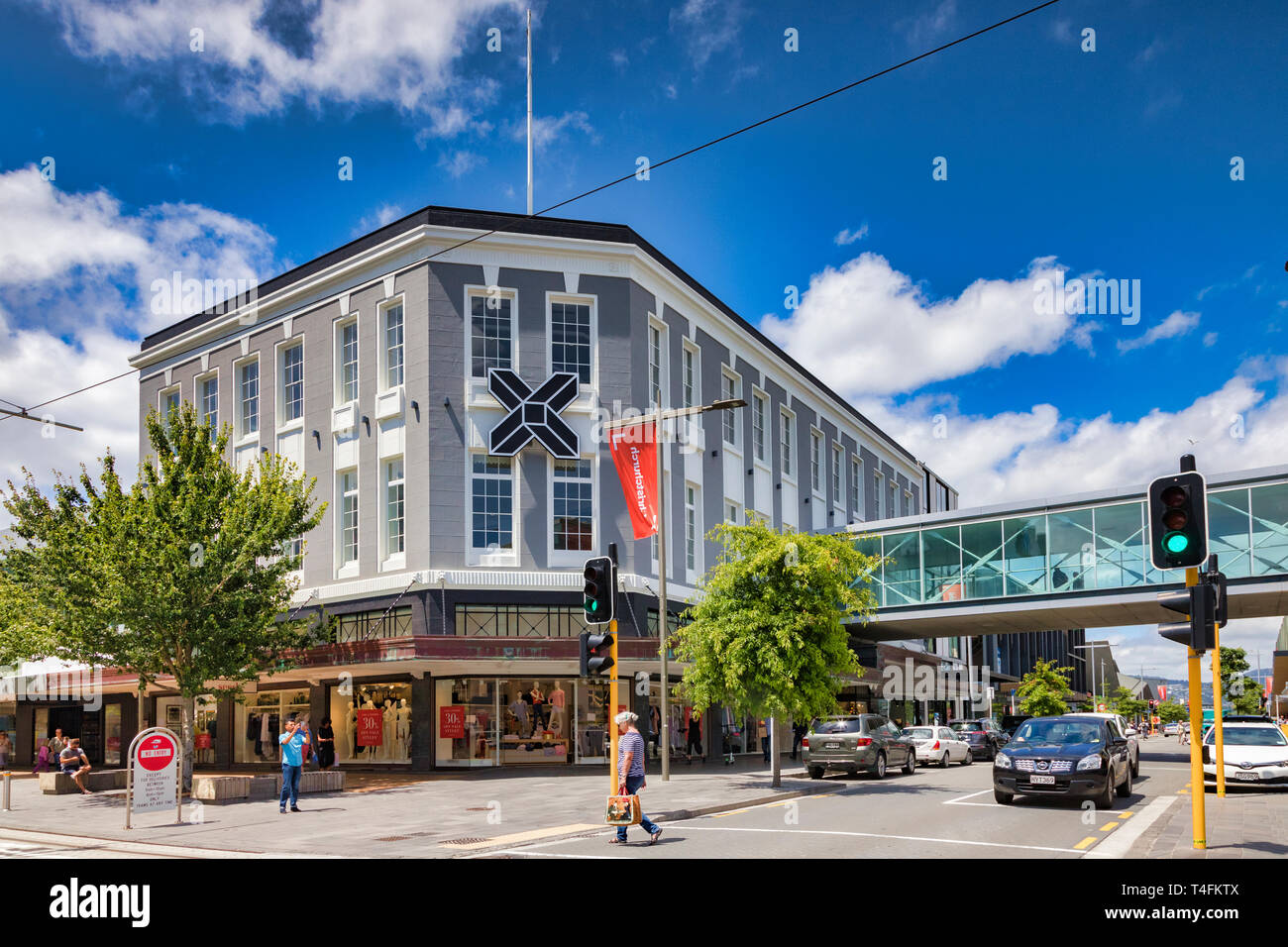 8 January 2019: Christchurch, New Zealand - The Crossing, a new shopping mall built to replace what was lost in the 2011 earthquake. Stock Photo