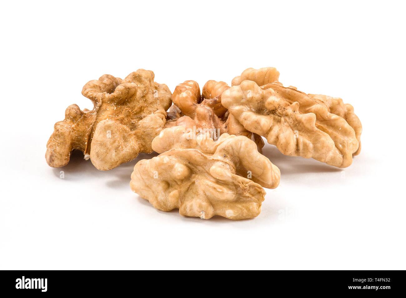 Natural walnut core macro close-up isolated - Stock Image