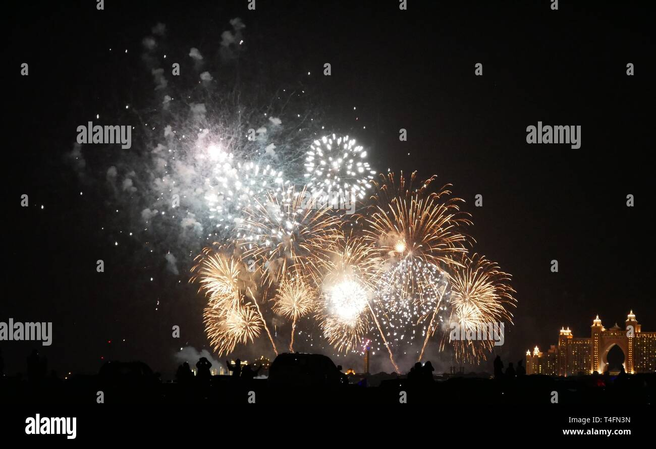 Fireworks on the palm tree in Dubai - Stock Image