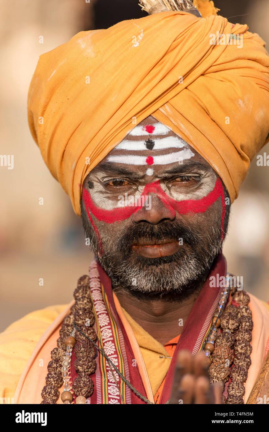 Portrait of a Sadhu (holy man), Hampi, India - Stock Image
