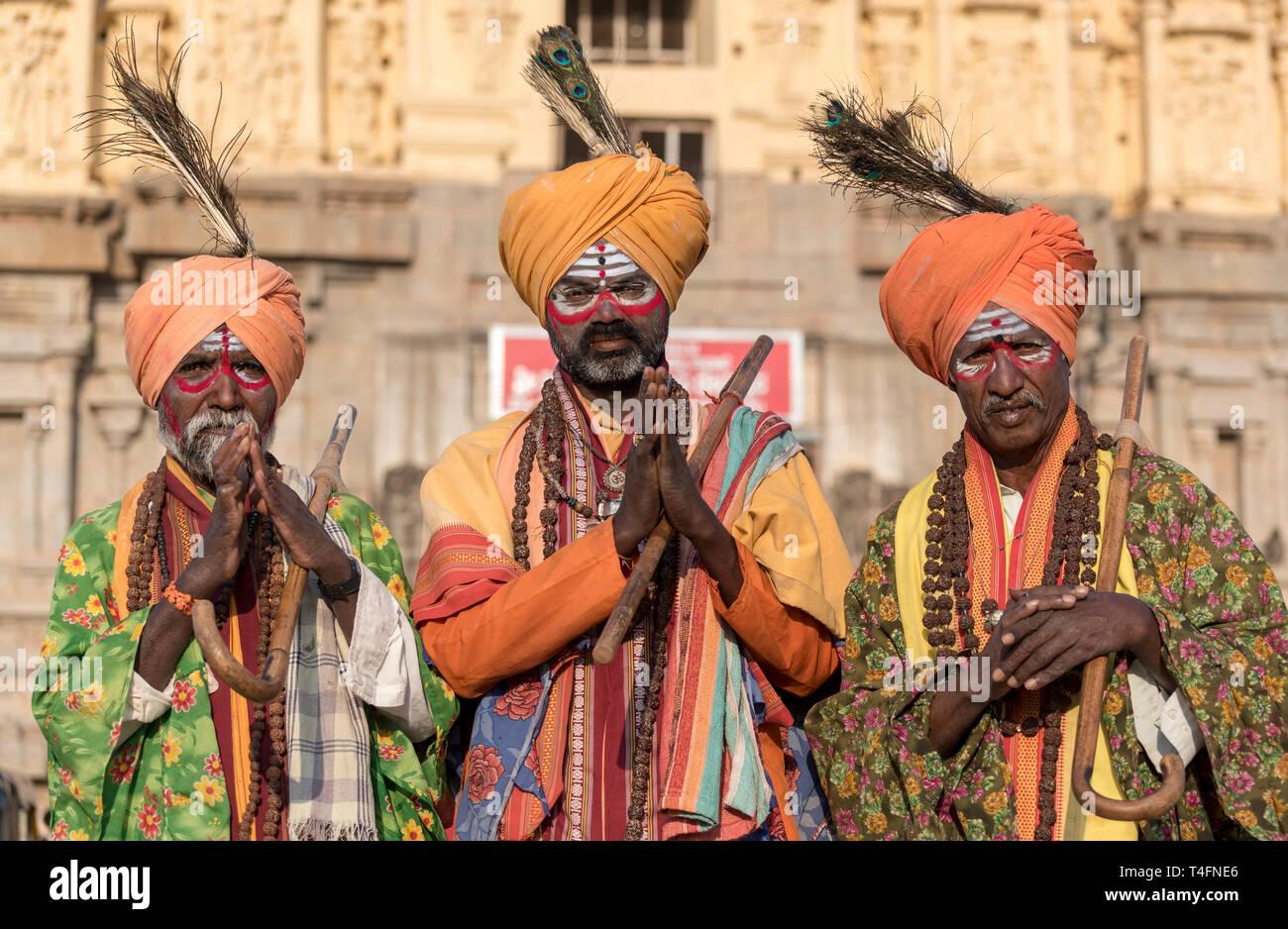 Portrait of three sadhus (holy men), Hampi, India - Stock Image