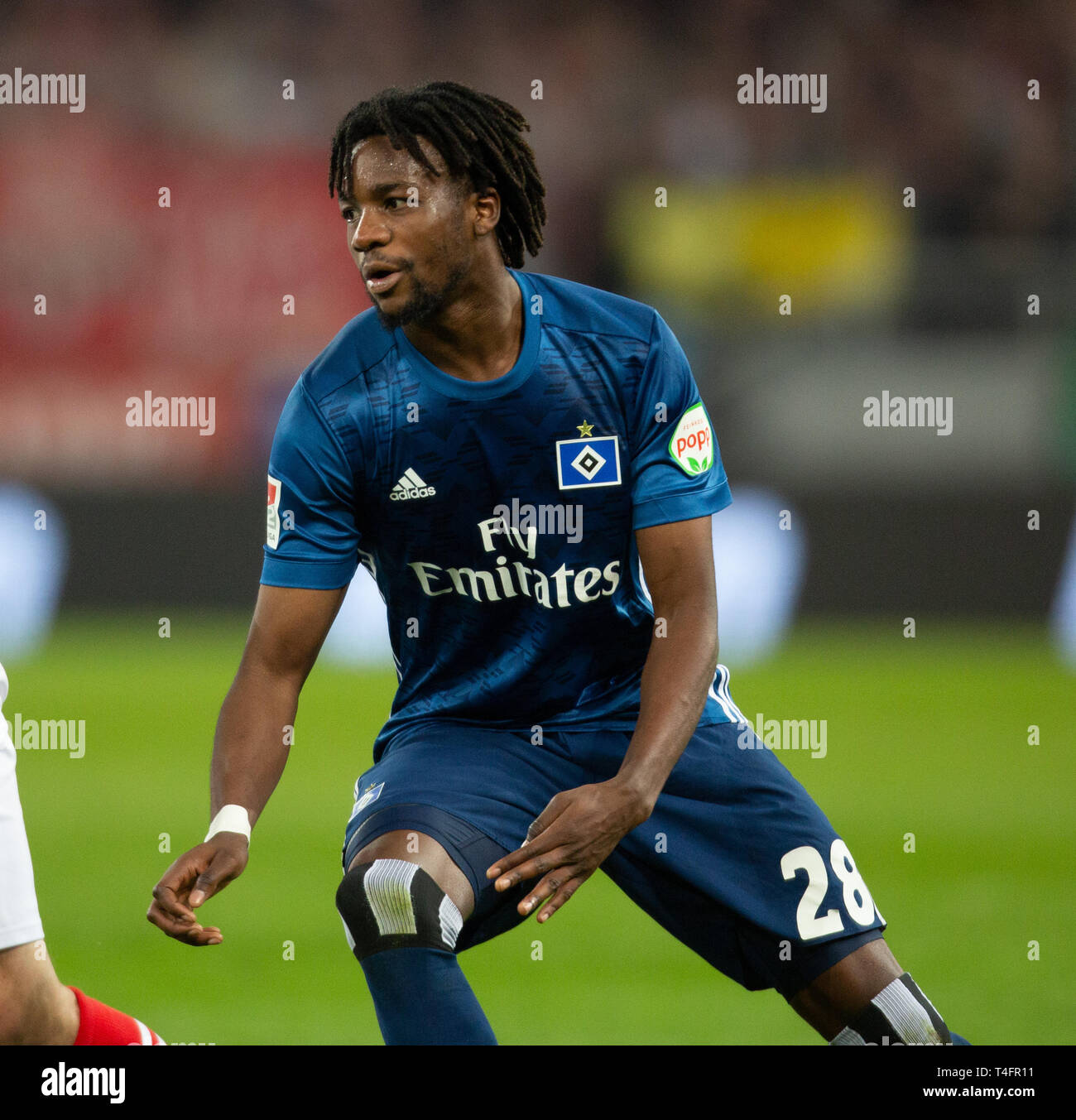 Cologne, Germany April 15 2019, football 2nd league, 1. FC Koeln vs. Hamburger SV: Gideon Jung (HSV) looks on. - Stock Image
