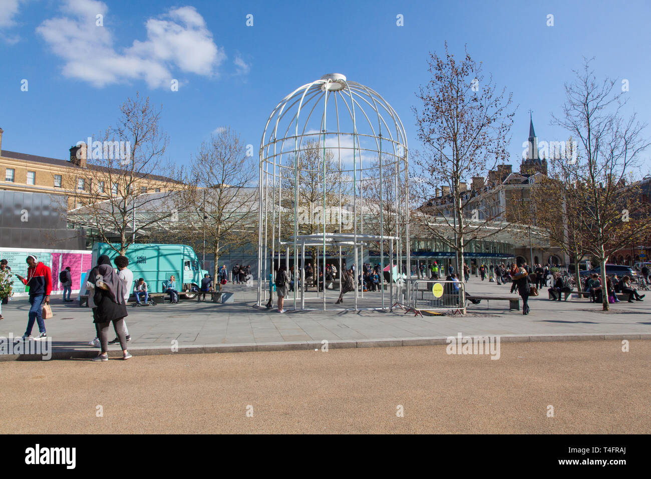 Giant Birdcage swing (Identified Flying Object )outside ,Kings Cross Station, London, England, United Kingdom. - Stock Image