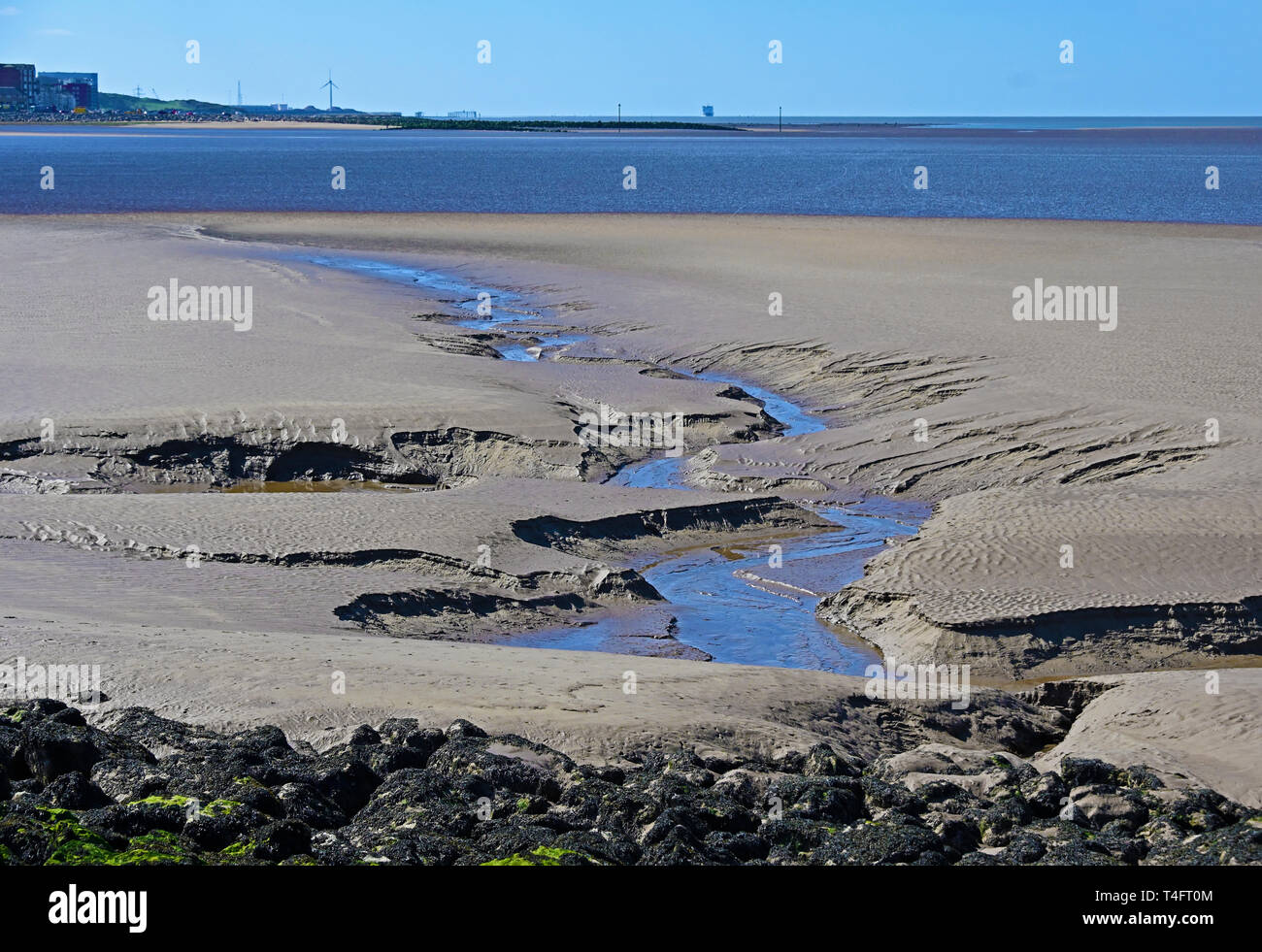 Patterns in the sand at low tide. Morecambe Bay, Lancashire, England, United Kingdom, Europe. Stock Photo