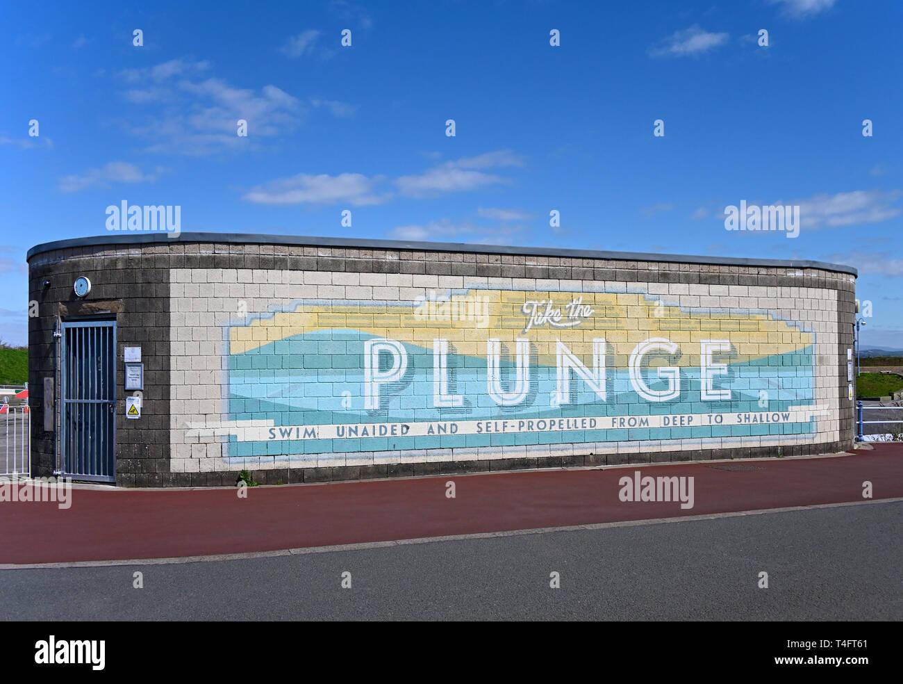 """""""Take the Plunge"""" artwork. The Promenade, Morecambe, Lancashire, England, United Kingdom, Europe. Stock Photo"""