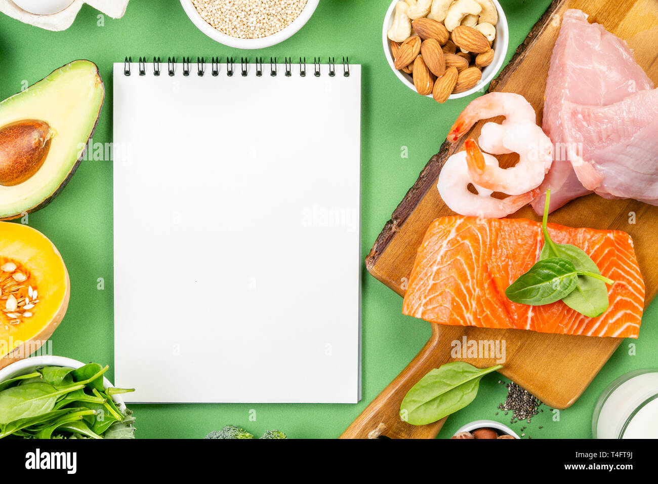 Mediterranean diet concept - meat, fish, fruits and