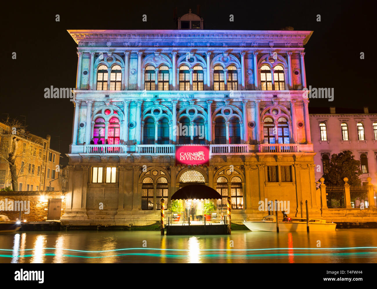 Casino di Venezia illuminated at night, Ca' Vendramin Calergi, Grand Canal, Venice, Italy Stock Photo