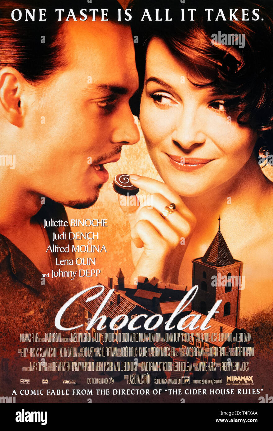 Chocolat (2000) directed by Lasse Hallström and starring Juliette Binoche, Judi Dench and Alfred Molina. Romantic comedy adaptation of Joanne Harris' novel about a small chocolaterie and its effect on the local community. - Stock Image