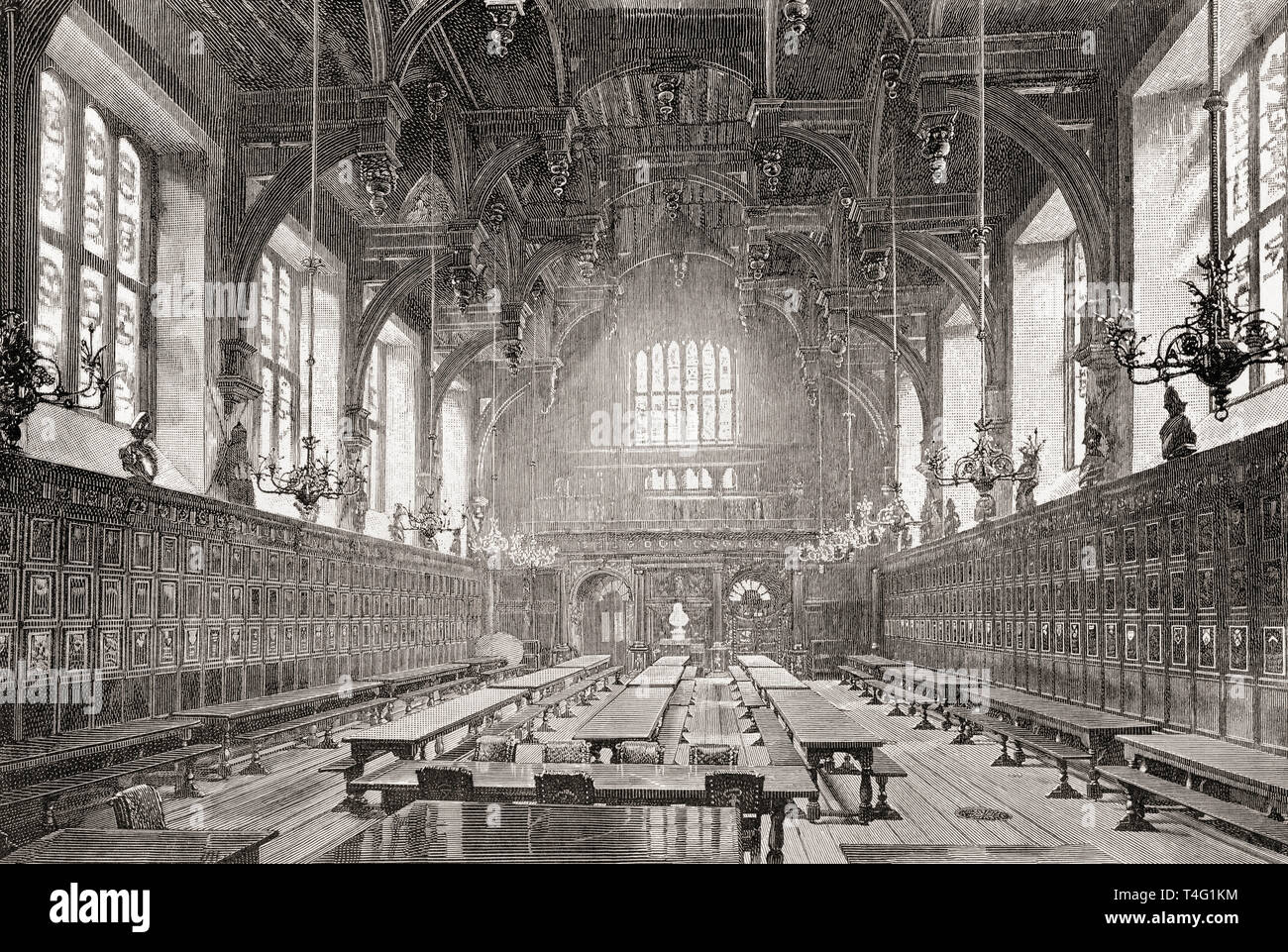 The Great Hall of the Middle Temple, London, England, seen here in the 19th century.  From London Pictures, published 1890 - Stock Image
