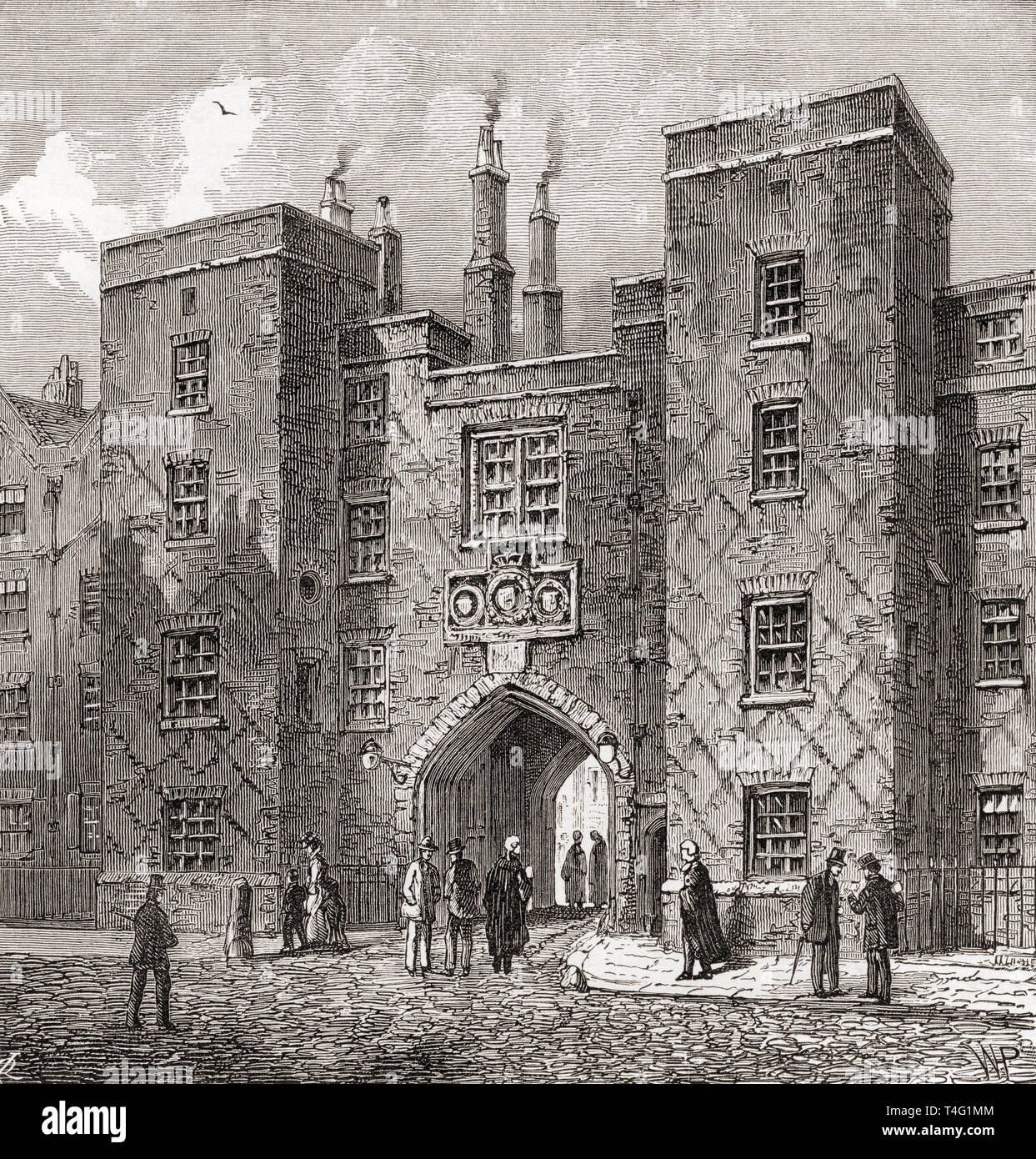 The Chancery Lane Gate of Lincoln's Inn, London, England, seen here in the 19th century.  From London Pictures, published 1890 - Stock Image