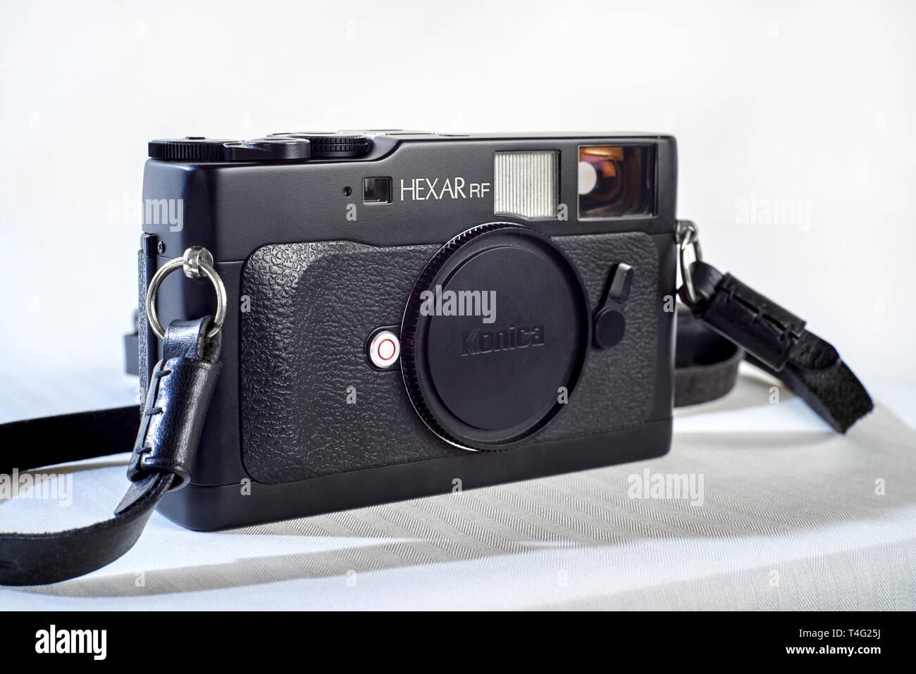 Vintage Film camera, Konica Hexar RF vintage Japanese rangefinder camera now discontinued - Stock Image