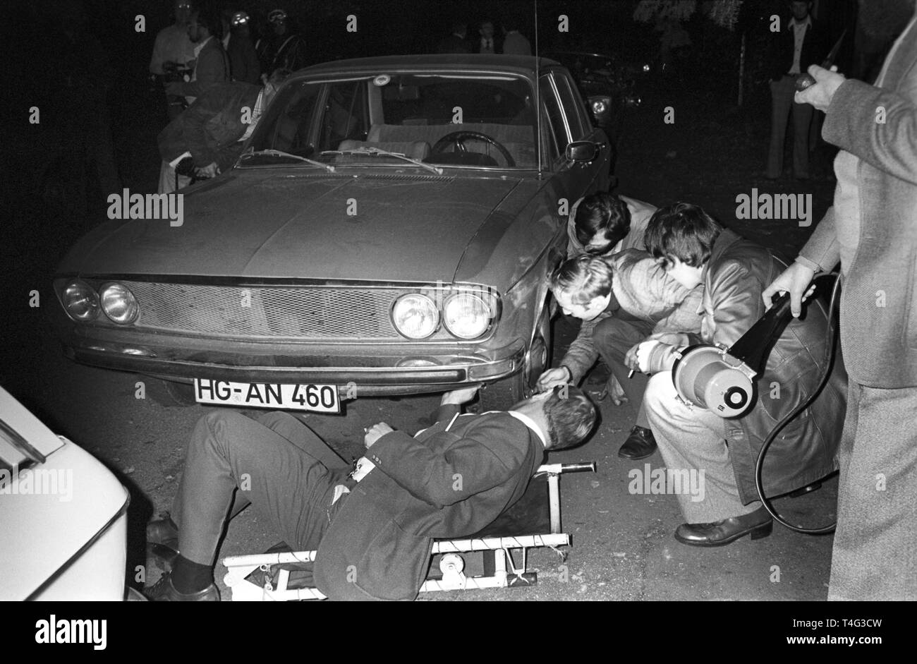 The car (Audi 100) with the corpse of murdered Hanns Martin Schleyer was found in the Alsacian town Mulhouse (France) on the 19 October 1977. He was kidnapped by german terrorist group RAF on 5 September. | usage worldwide - Stock Image