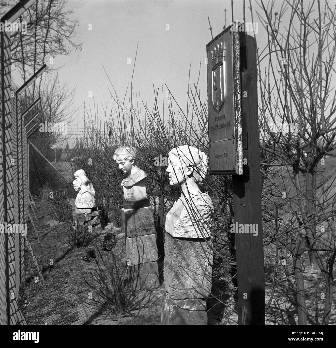 View of three busts, which were saved from destruction by members of the city environmental and operational services. They were put up at the fence of their business premises in Dahlem (undated archive photograph, 1960). | usage worldwide - Stock Image
