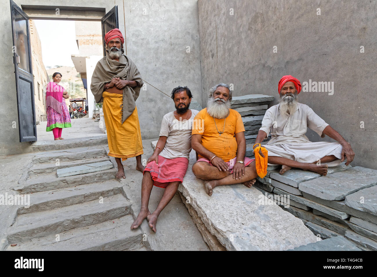 JAIPUR, INDIA, October 27, 2017 : Sadhus in an Ashram. A sadhu is a religious ascetic, mendicant or any holy person in Hinduism and Jainism who has re - Stock Image