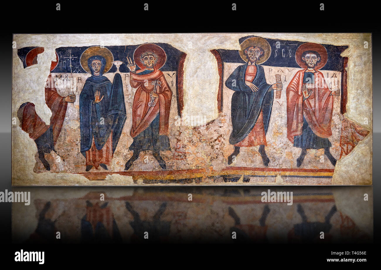 Romanesque frescoes of the Apostles from the church of Sant Roma de les Bons, painted around 1164, Encamp, Andorra. National Art Museum of Catalonia,  - Stock Image