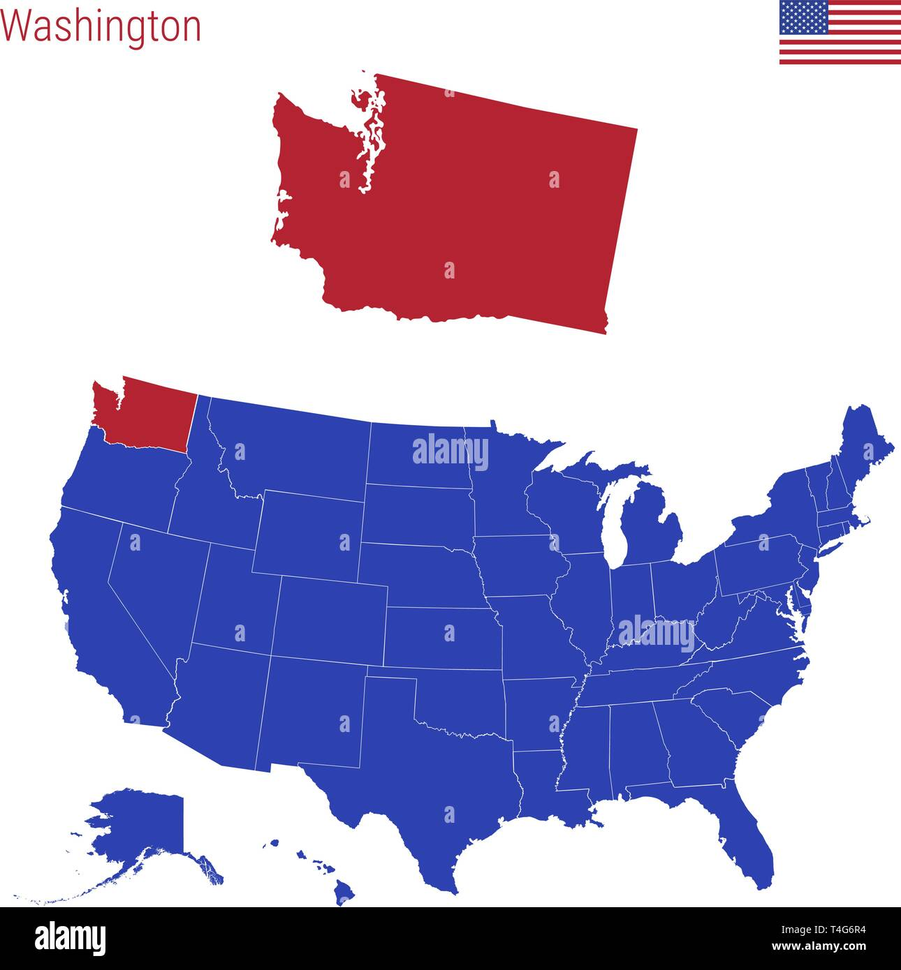 The State of Washington is Highlighted in Red. Blue Vector Map of the United States Divided into Separate States. Map of the USA Split into Individual - Stock Vector