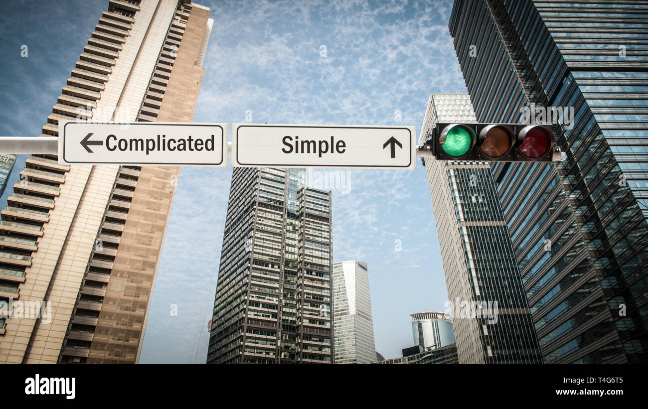 Street Sign Simple versus Complicated - Stock Image